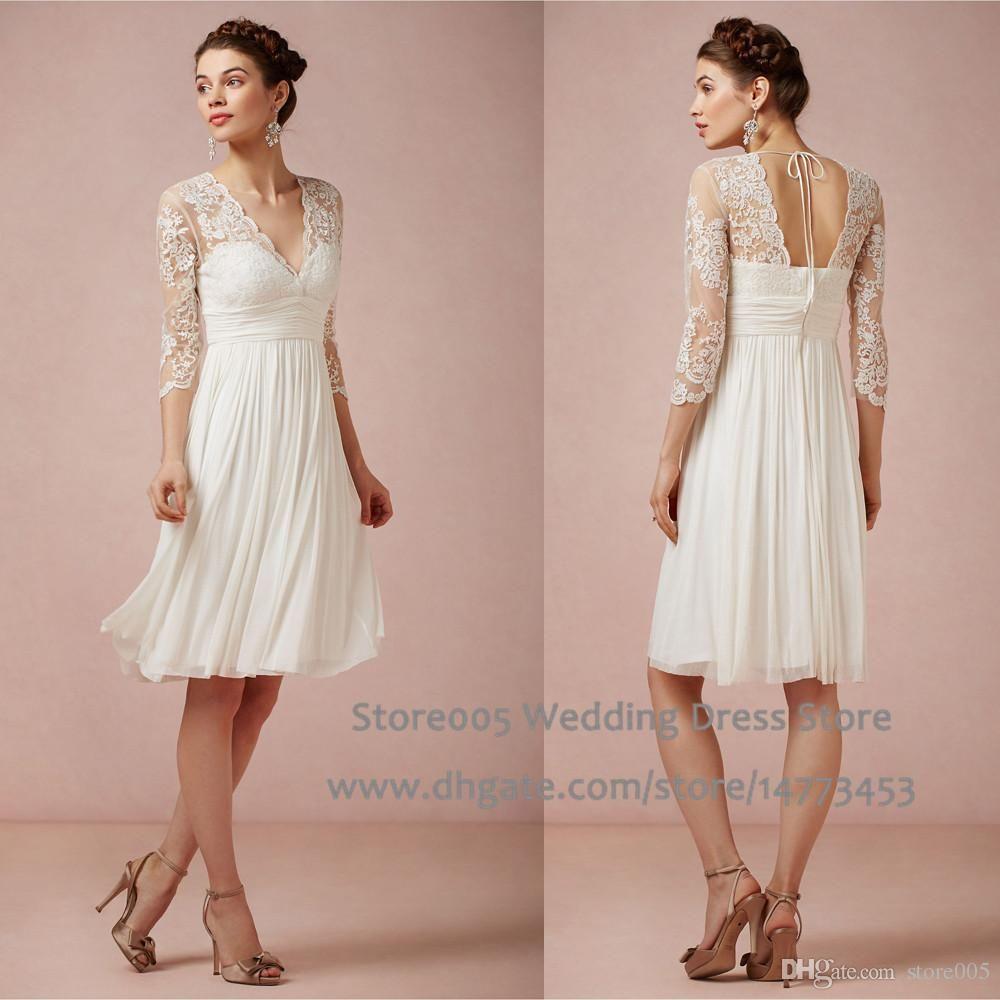 Knee length wedding dress  Summer Chiffon Short Knee Length Wedding Dresses Lace V Neck
