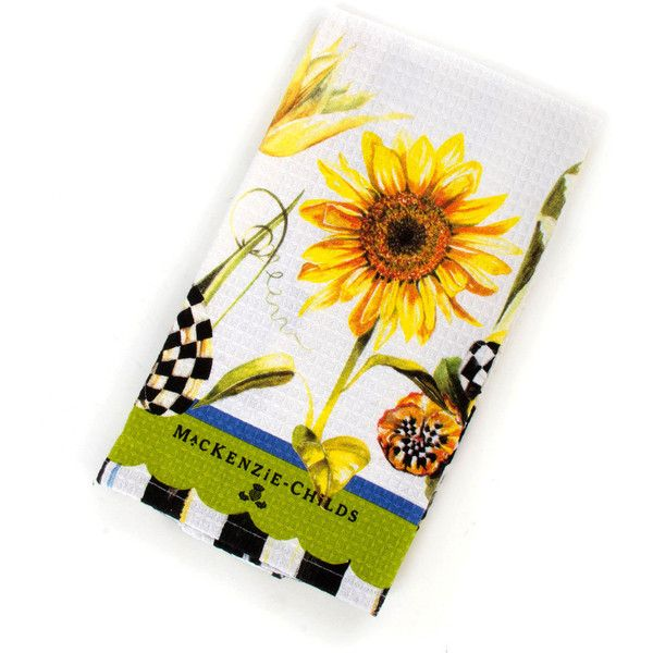 MacKenzie Childs Sunflower Tea Towel ($15) ❤ Liked On Polyvore Featuring  Home,