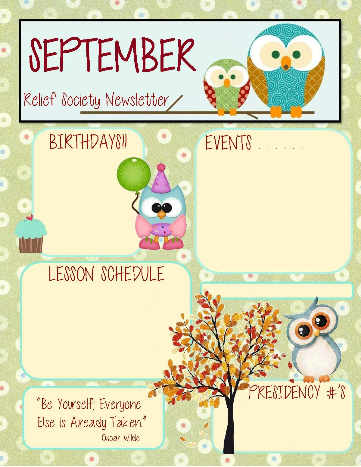 september relief society newsletter template templates relief