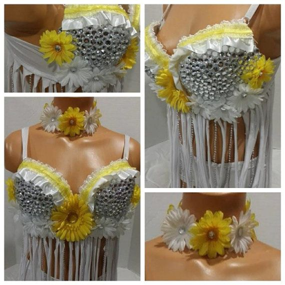 Yellow and White Daisy Rave Bra, Rave Outfit, Outfit for EDC on Etsy, $70.00