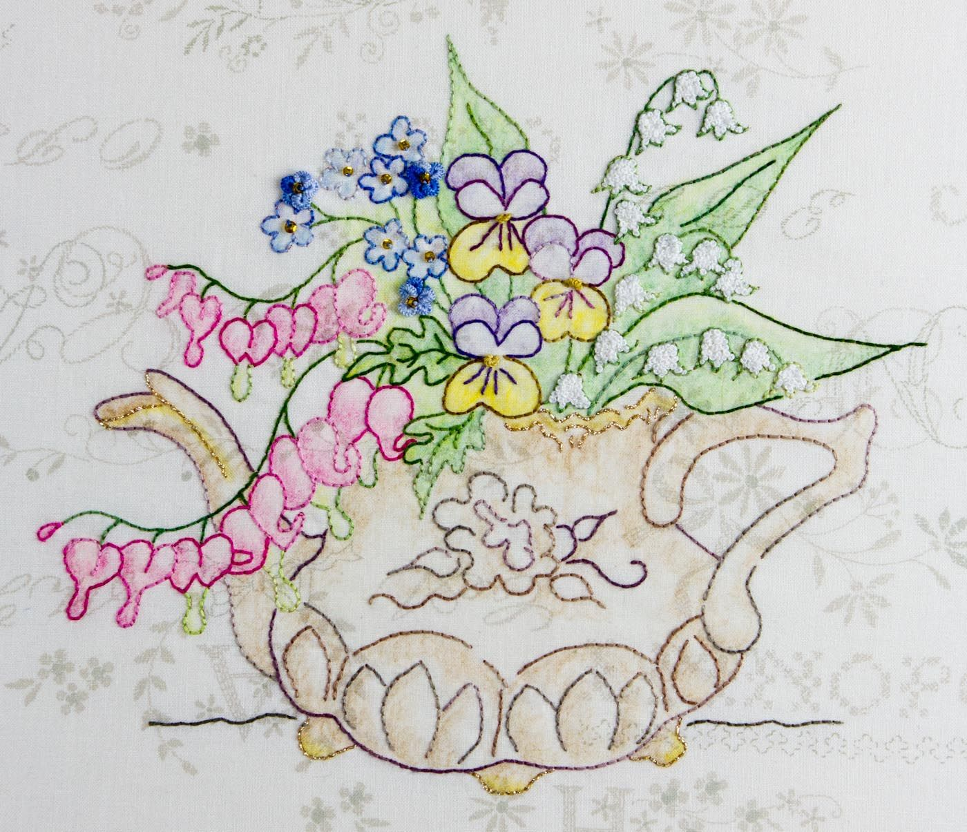 Teapotbouquetweb flower patterns pinterest embroidery