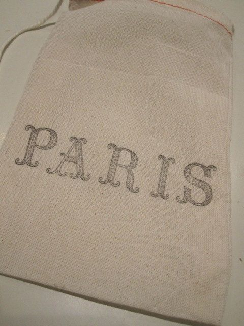 Hand Stamped Muslin Gift Bags  Paris by frenchcountry1908 on Etsy, $6.75