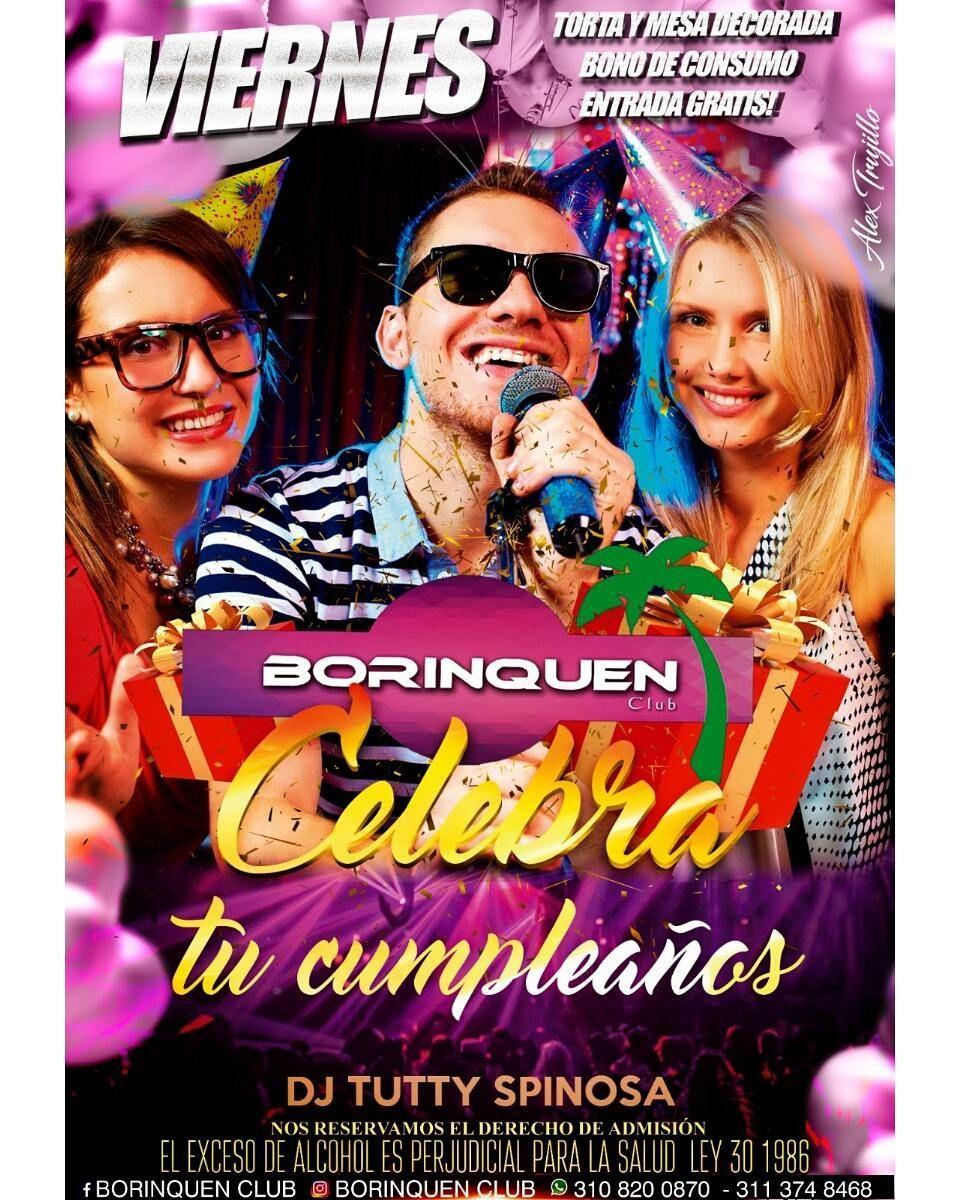 Hoy la mejor rumba Crossover es en @Borinquenclub #ElTemplodelaRumba Mujeres NO Cover Celebración de Cumpleaños Rifas de Licor y Bonos de Consumo Hora Sorpresa RESERVAS: 3108200870 - 3113748468 Sector Torremolinos