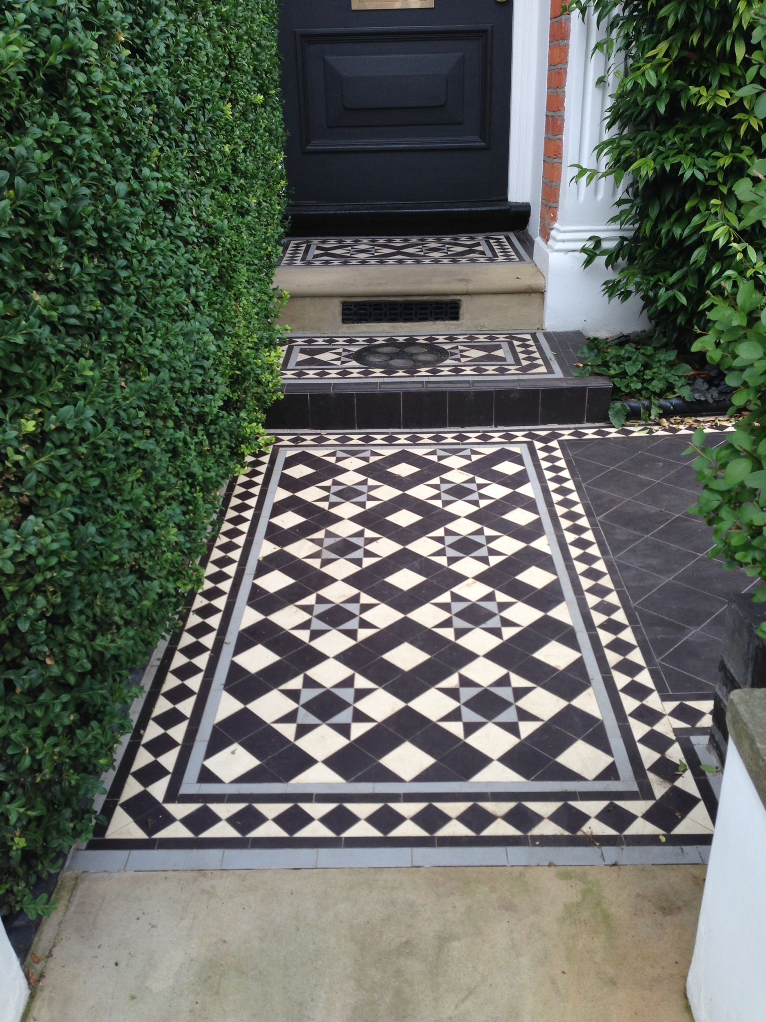 black and white tessellated front patio tiles in photos - google