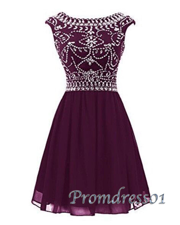 cute burgundy chiffon short prom dress with beautiful top
