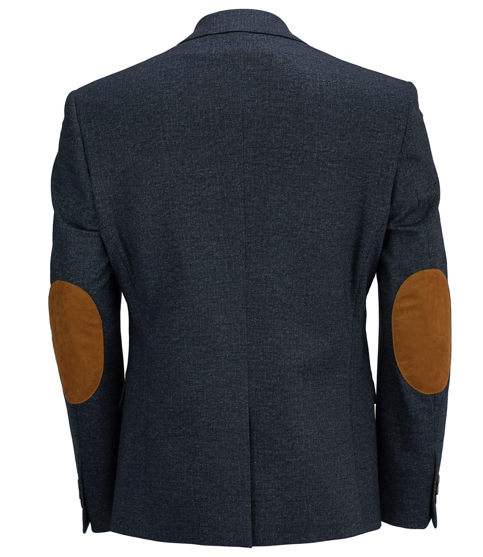 Para-Hombres -Smart-Casual-Amueblada-Chaqueta-Blazer-Estiramiento-Azul-Marron-Parche-De- Codo 2f043a5f134