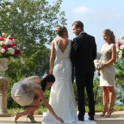 Outdoor ceremony bride and groom on the grounds of The Pridwin Hotel  Shetler Island Long IsIand