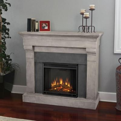 Real Flame Torrence 51 in. Cast Indoor Electric Fireplace in Cinder ...