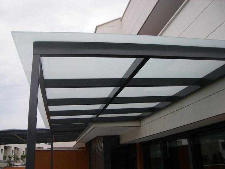 P rgola de acero negro y cristal muy resistente jardin for Terrazas metalicas