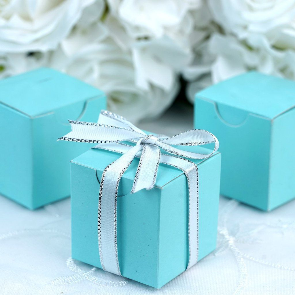 474e1cdb35 Wedding Favor Boxes Turquoise Aqua Blue Gold Silver Pink Navy Burgundy  Custom Favor Box 2 x 2 x 2 w Lids and Ribbon w Custom Favor Tags | Products  | Wedding ...
