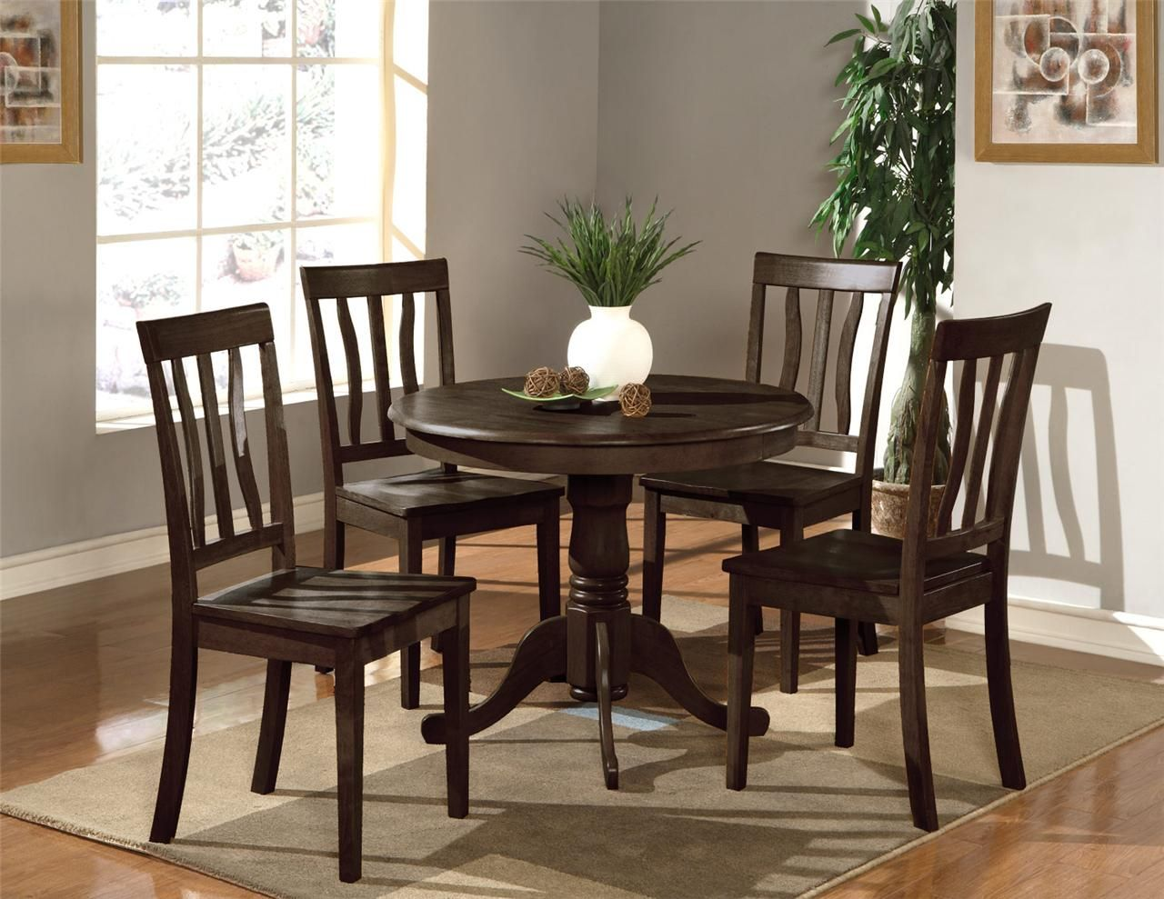 Round dining table and chairs for 4  PC DINETTE KITCHEN SET quot ROUND TABLE WITH  WOOD SEAT