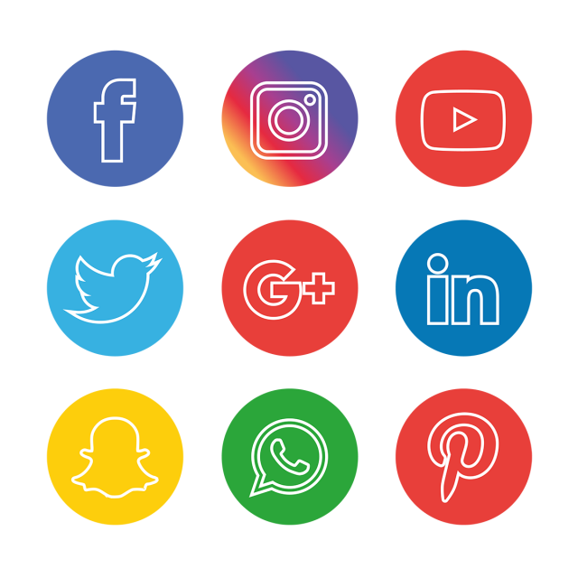 Social Media Icons Set, Social, Media, Icon PNG and Vector