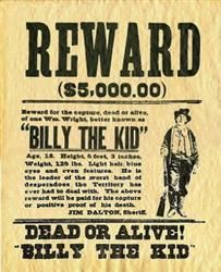 Billy The Kid 5 000 Reward Wanted Poster Billy The Kids Old West Outlaws Old West