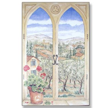 Tuscany Trompe l'oeil Window Scene Wall Art Plaque