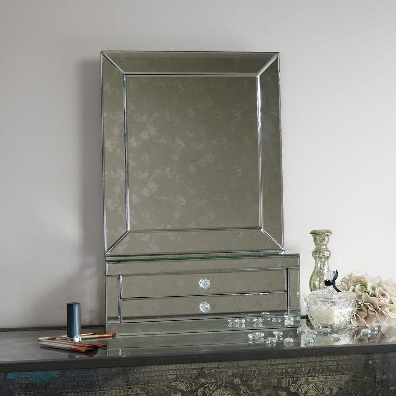 Large Tabletop Vanity Mirror With 2 Drawers