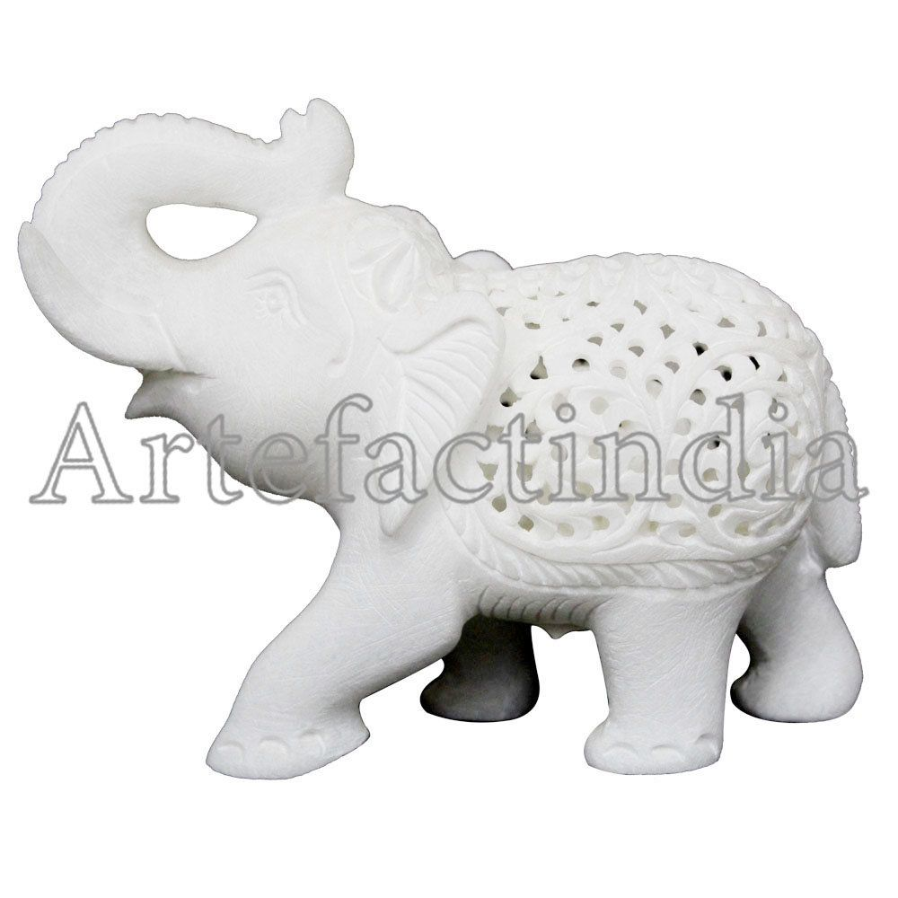 Antique Filigree Work White Alabaster Marble Elephant Figurine 4