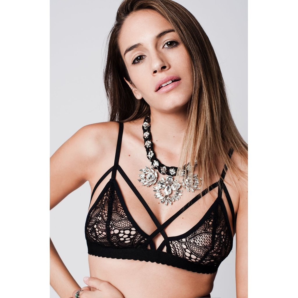 55bc1500f4 Black crochet lace triangle bralette with triangle scallop. Made of  polyester. Color  Black Material  100% Polyester