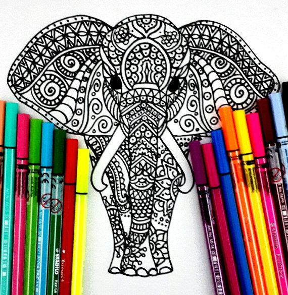 Elephant Coloring page, with many details, complex drawing to color - best of complex elephant coloring pages