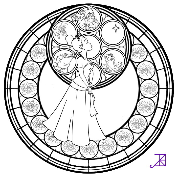 Tiana Stained Glass Line Art By Akili Amethyst On Deviantart Coloring Pages Mandala Coloring Books Disney Coloring Pages