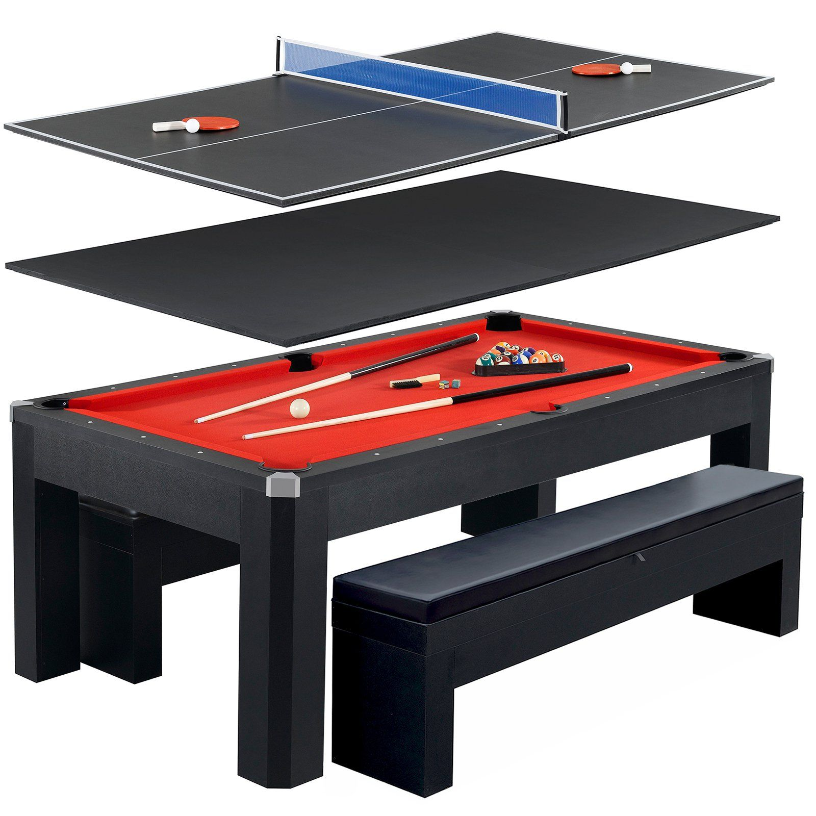 Peachy Hathaway Park Avenue 7 Ft Pool Table Combo Set With Benches Pdpeps Interior Chair Design Pdpepsorg