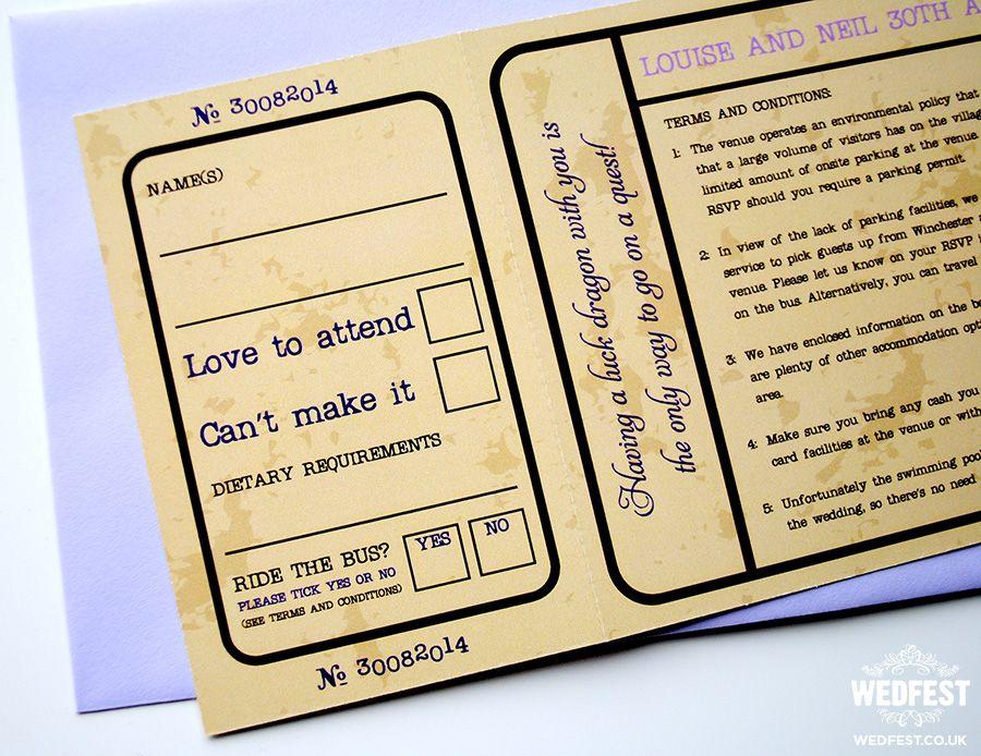 vintage movie ticket wedding invitations - http\/\/wwwwedfest - concert ticket invitations template