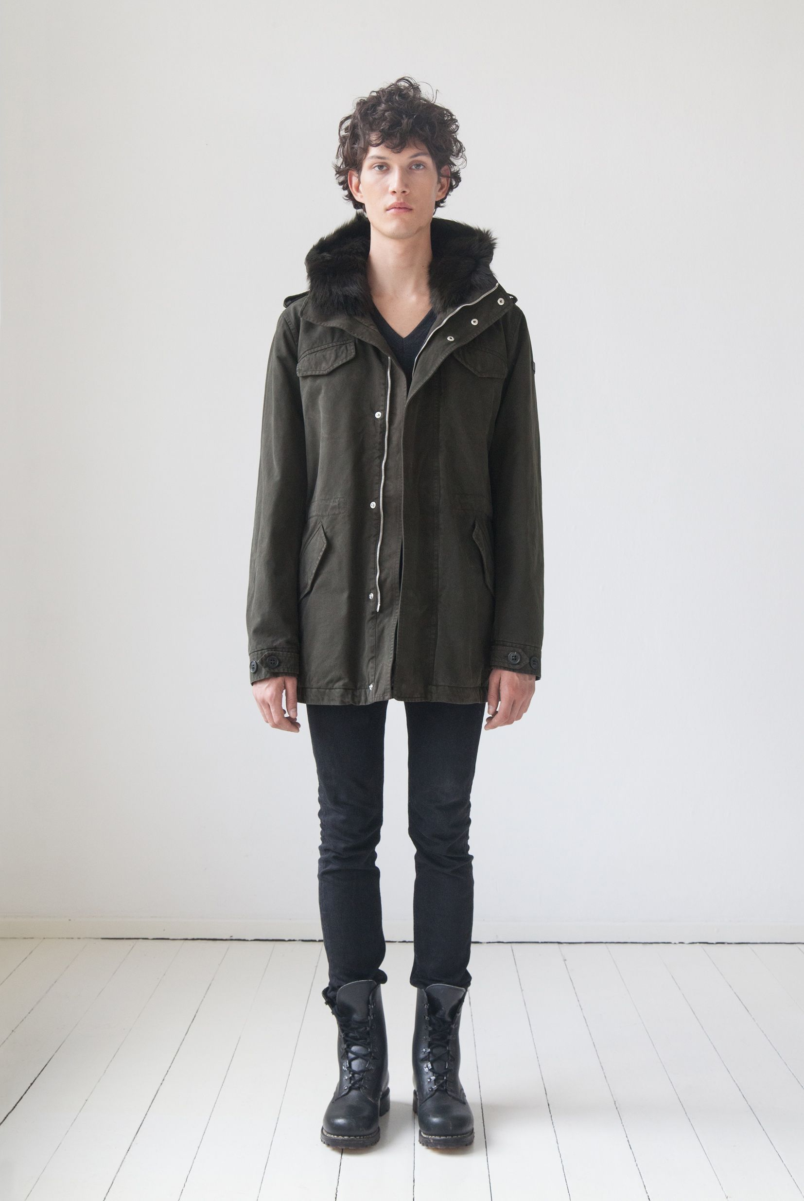 LEMPELIUS Fall Winter 2015 16 Men Dark olive parka jacket with lamb fur hood
