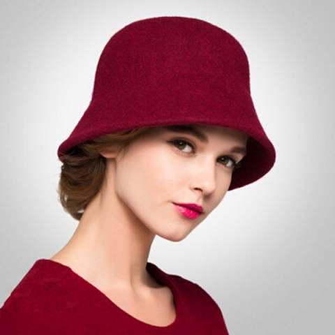 0a7cd27a34a Plian wool coche hat for women fashion winter bucket hats