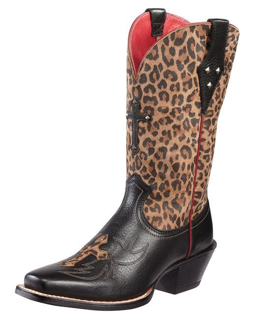 Women's Legend Spirit Boot - Black Deertan/Leopard Print- Im usually not a  leopard print kinda girl.
