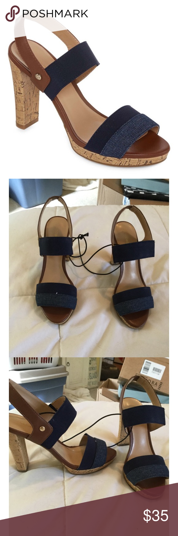 🌺🌸💐 CUTE DENIM HEELS💐🌸🌺 I have two pairs of the fabulous heels! Unfortunately they don't fit me! They have a semi thick cork heel with denim straps! I have two pairs! One unopened and one just tried on! You can request which one you want!!  I will post more photos upon request. Bundle 2+ and save 10%! Reasonable offers accepted!! 🌺🌻💐🌸 Liz Claiborne Shoes Heels