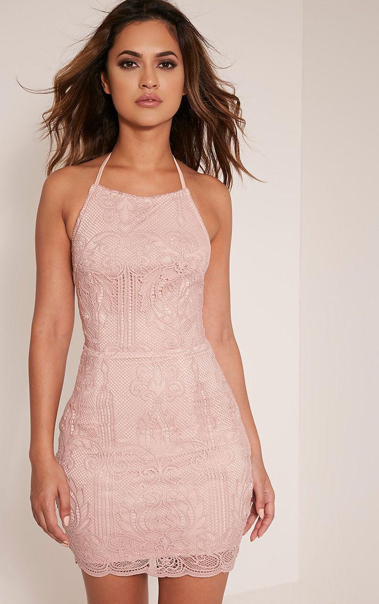 Sassia Dusty Pink Halterneck Strappy Back Lace Dress Pretty Little Thing Cheap Sale Hot Sale 9Hx4flQ4