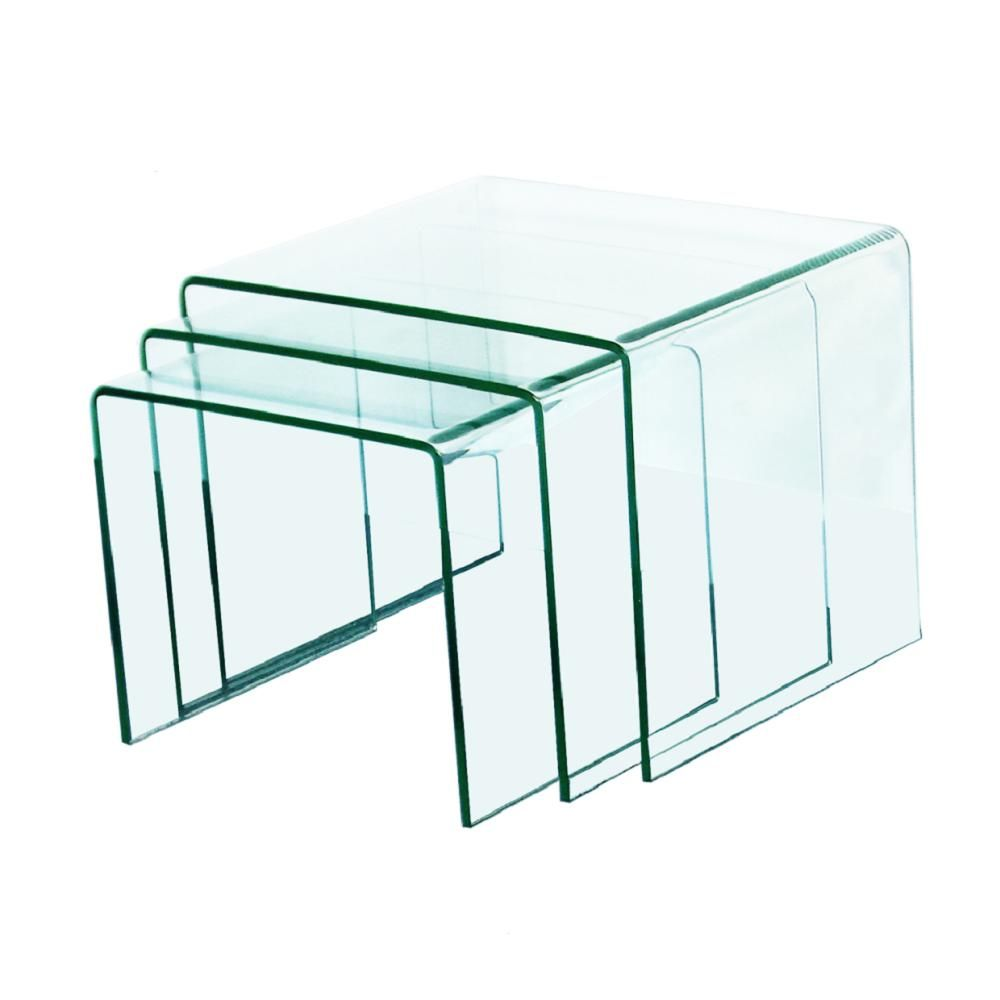 Fab Glass And Mirror 3 8 In Thick 3 Pieces Clear Bent Glass Nest Tables Xct310 The Home Depot Tempered Glass Table Top Mirrored Coffee Tables All Glass Coffee Table [ 1000 x 1000 Pixel ]