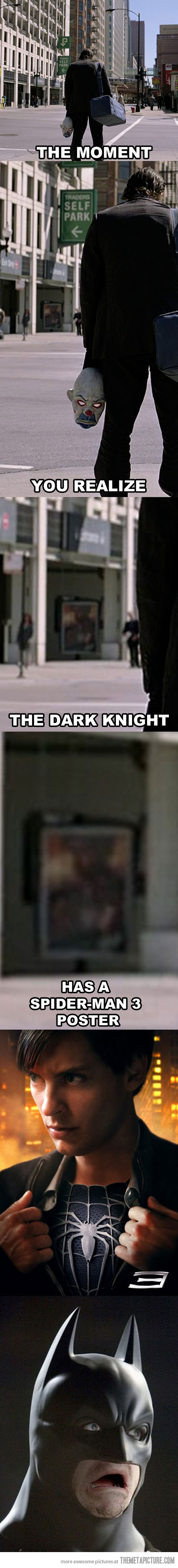 The moment you realize the Dark Knight has a Spiderman 3 poster   Marvel vs DC