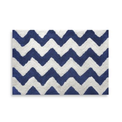 Chevron Navy Inch X Inch Bath Rug BedBathandBeyondcom - Navy blue and white bath rug for bathroom decorating ideas
