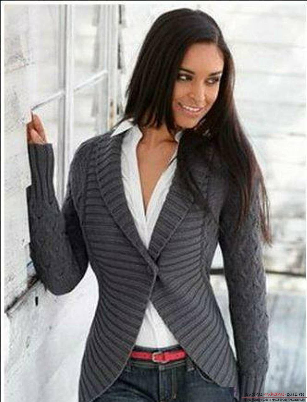 вязаная спицами женская кофта с воротником к зиме фото 5 спицы
