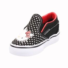 These Hello Kitty slip-ons just cant be topped. Classic black with tiny white polka dots scattered all over, then the Hello Kitty face right on top so you don't forget your rocking quality shoes. The bright lining will help to keep your spirits up during winter and fall. These guys, like all Vans Slip-ons, are reinforced with leather around the top to make them extra durable. These shoes are ready to run, skip or dance with you!