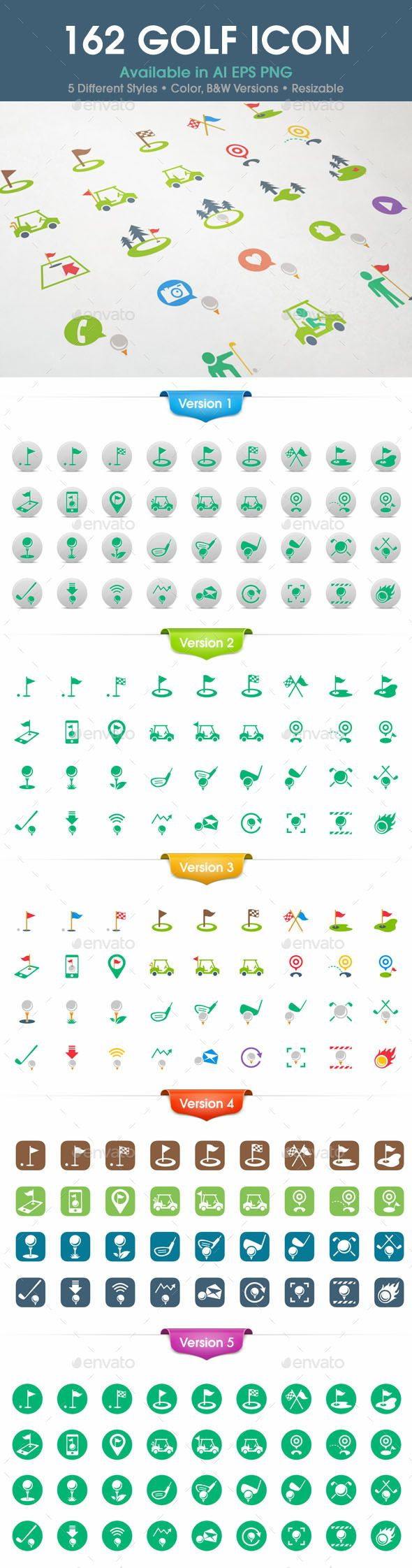 162 Golf Icons | Buy and Download: http://graphicriver.net/item/162 ...
