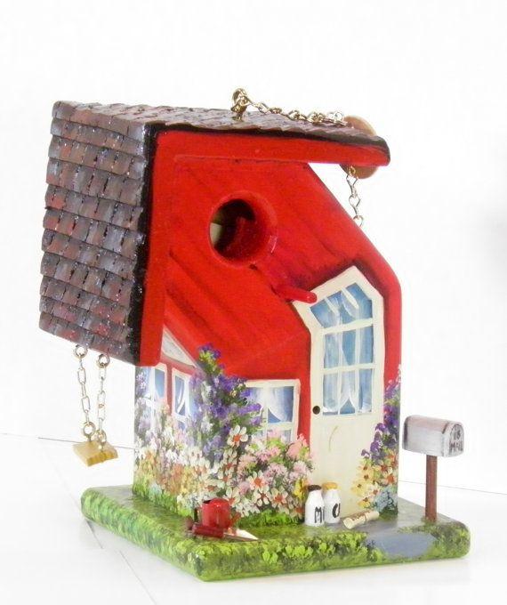 Bent Red Birdhouse , Handmade , Hand Painted , Unique
