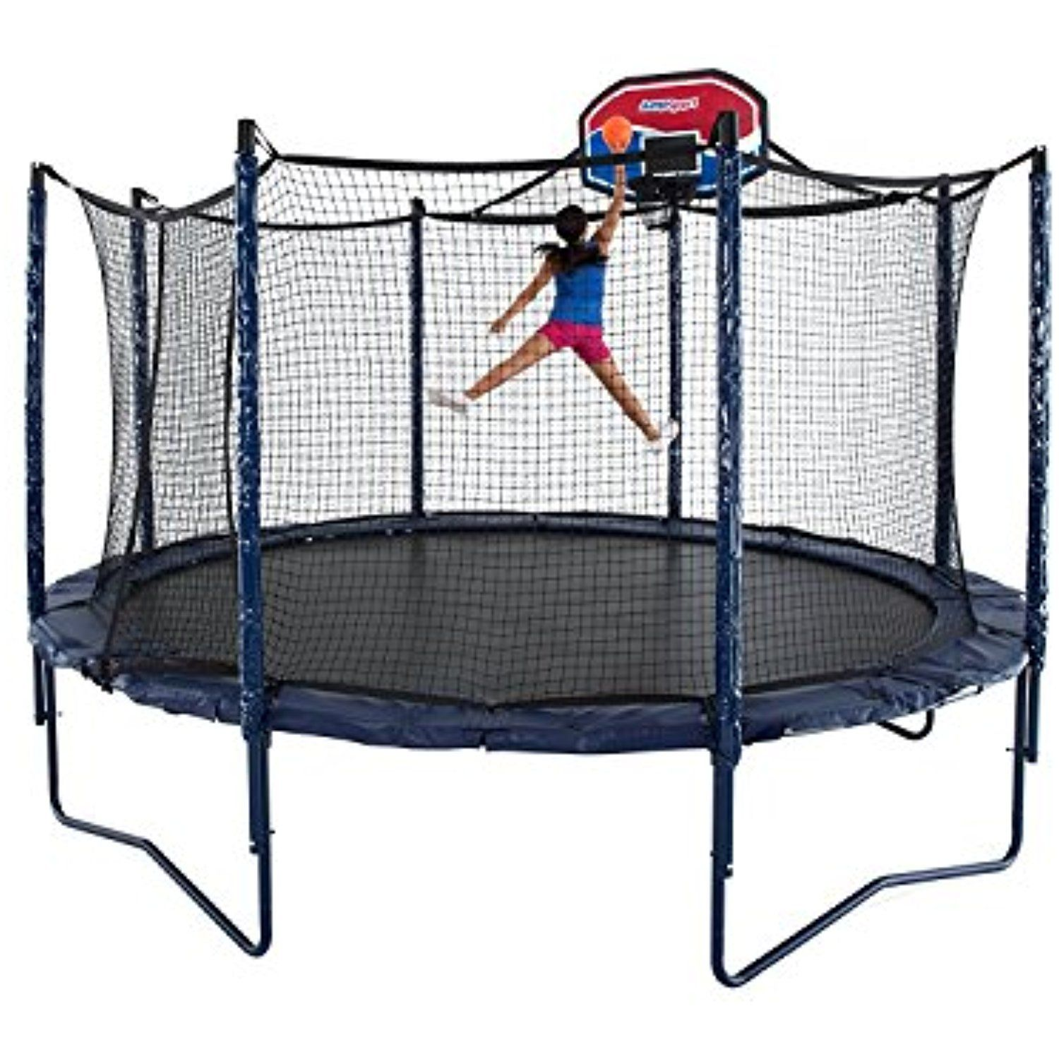 JumpSport Elite Trampoline with PowerBounce and Basketball