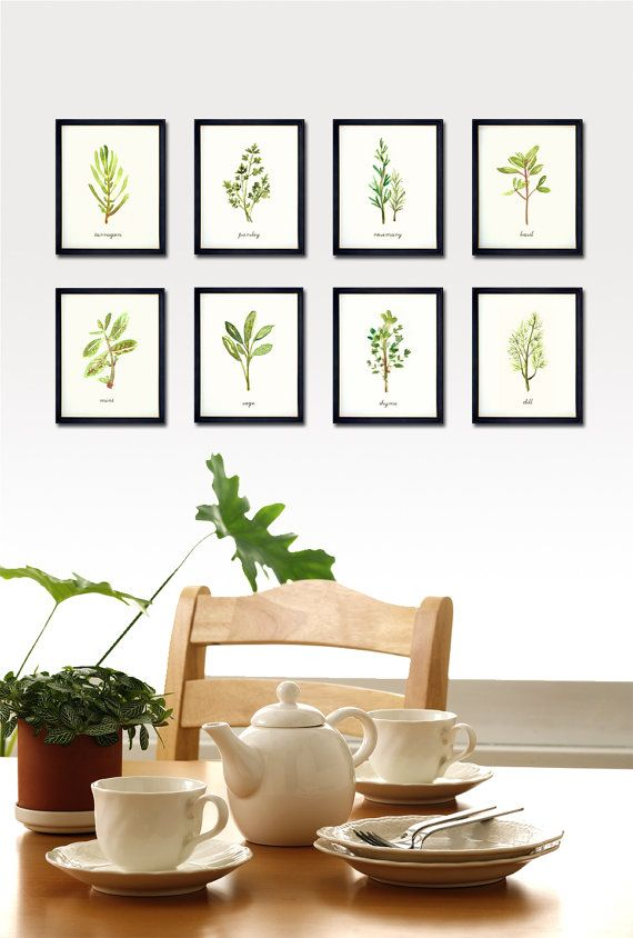 kitchen herbs hanging on a line green canvas print framed picture wall art
