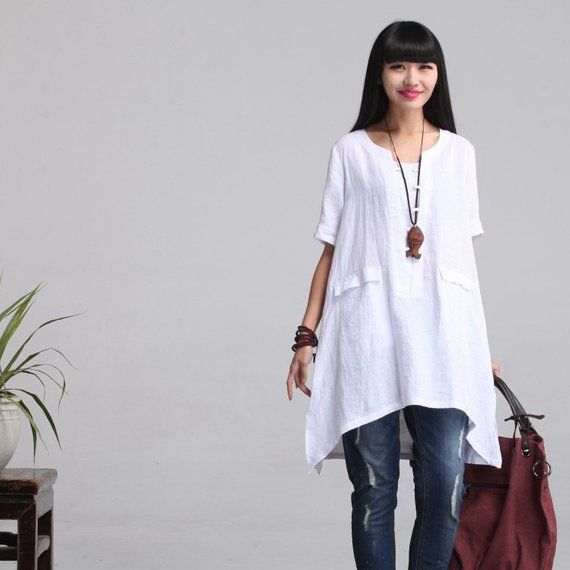 baa8daa4892 Loose Fitting Plus Size Linen Shirt Blouse for Women(C) - Off-White - Women  Clothing (SY006)(M-3XL)