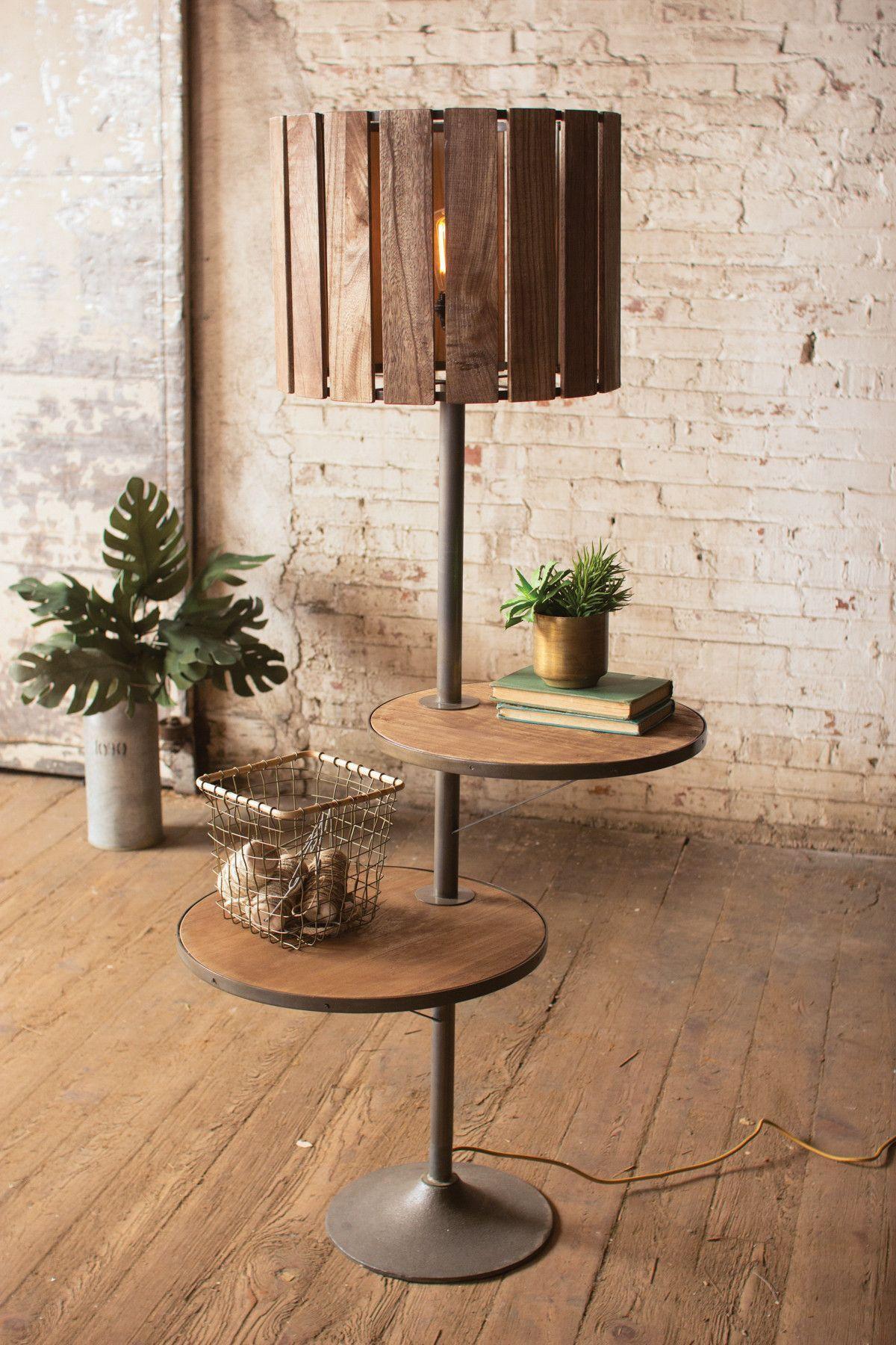 Kalalou Wood and Metal Floor Lamp with Rotating Shelves