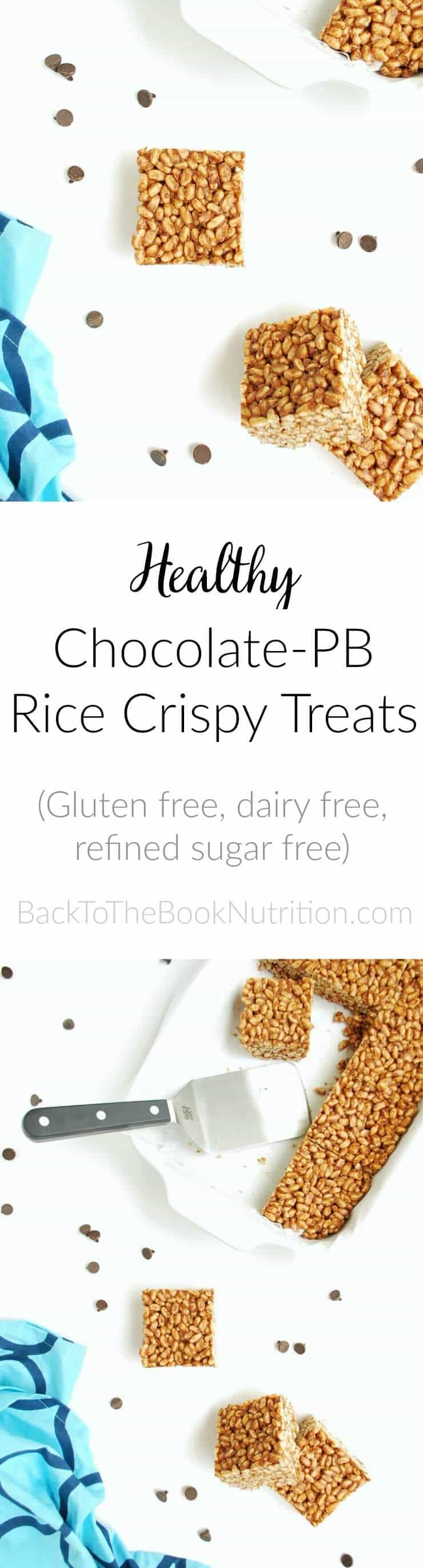 Healthy Chocolate Peanut Butter Rice Crispy Treats (Gluten