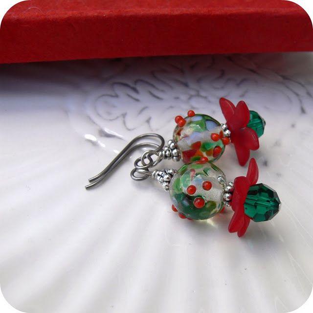 SOLD.  Poinsettia earrings