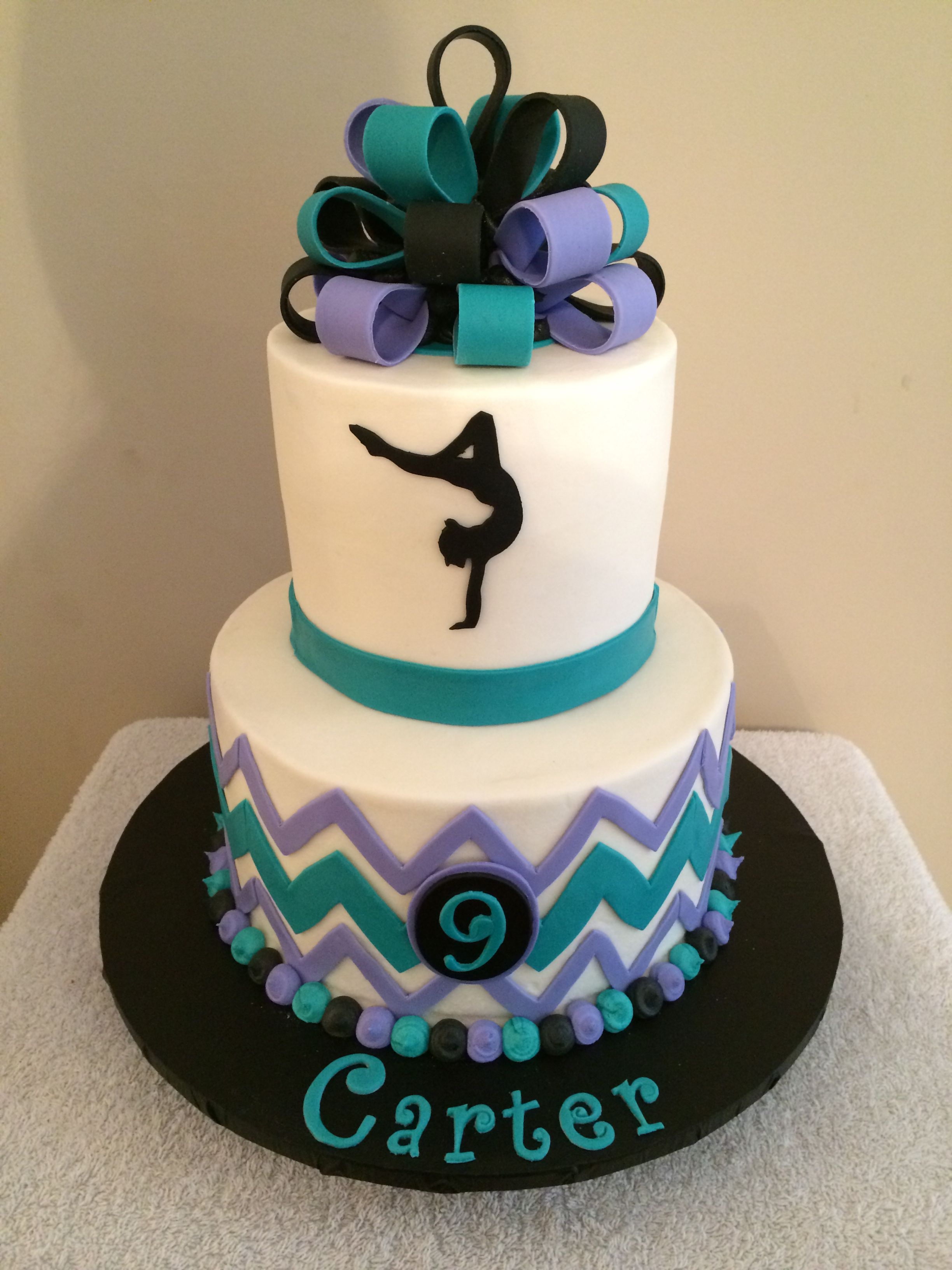 Amazing 2 Tier Chevron Dance Cake With Accents Done In Fondant Dance Personalised Birthday Cards Beptaeletsinfo