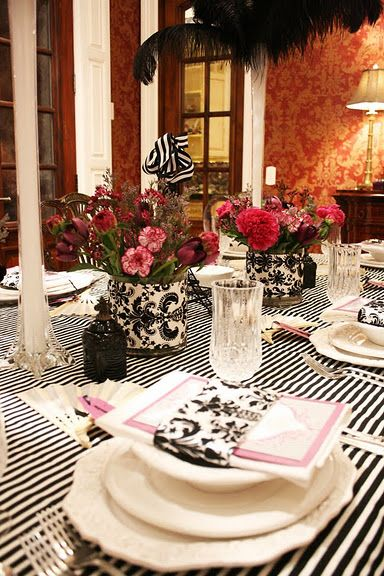 French themed table setting with mixed prints. Italian themed idea as well for a shower & French themed table setting with mixed prints. Italian themed idea ...