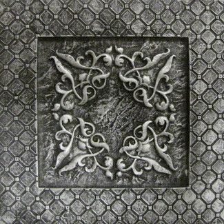 "Decorative Accent Tile Captivating Emser Tile Camelot 4"" X 4"" Igraine Deco In Silver  Bathroom Decorating Design"