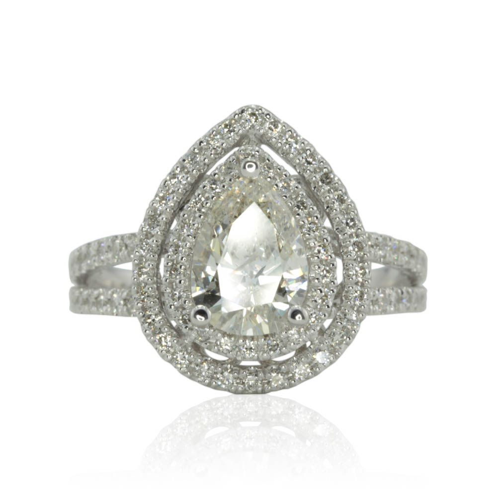 Pear engagement ring xmm pear cut diamond double halo ring