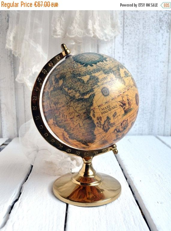 Vintage sepia world globe on brass stand map atlas desk top antique 10 flash sale vintage sepia world globe on by shabbyfrenchvintage gumiabroncs Images