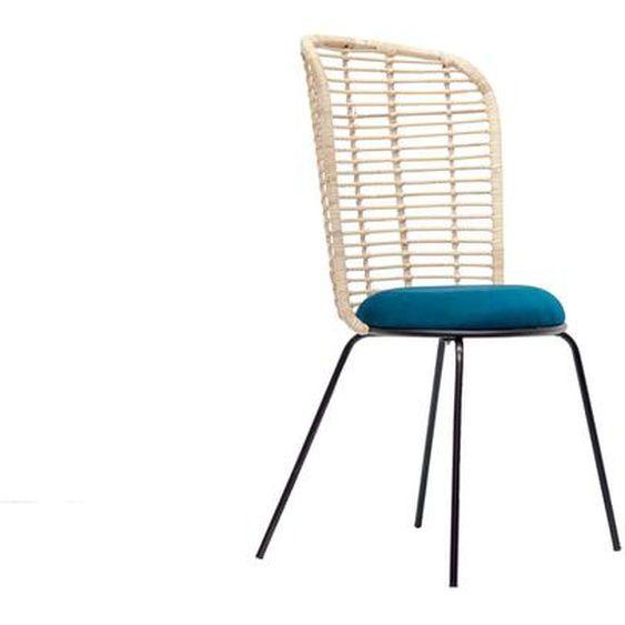 Design-Stuhl aus Rattan und petrolblauem Stoff NICOLAS