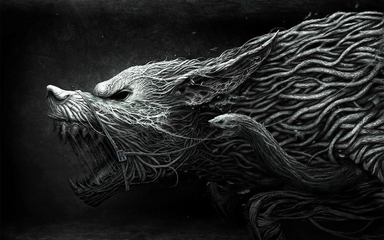 Snakeywolf Dark paintings, Illustration art, Wolf wallpaper